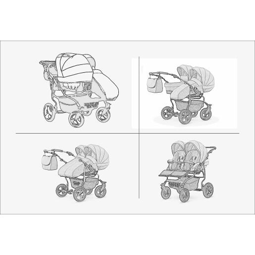 Carucior pentru doi copii Mikado GOLDSTAR 0+1 (T01-11) Grafit/Cadru Auriu