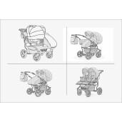 Carucior pentru doi copii Mikado GOLDSTAR 0+1 (T01-10) Grafit/Cadru Grafit