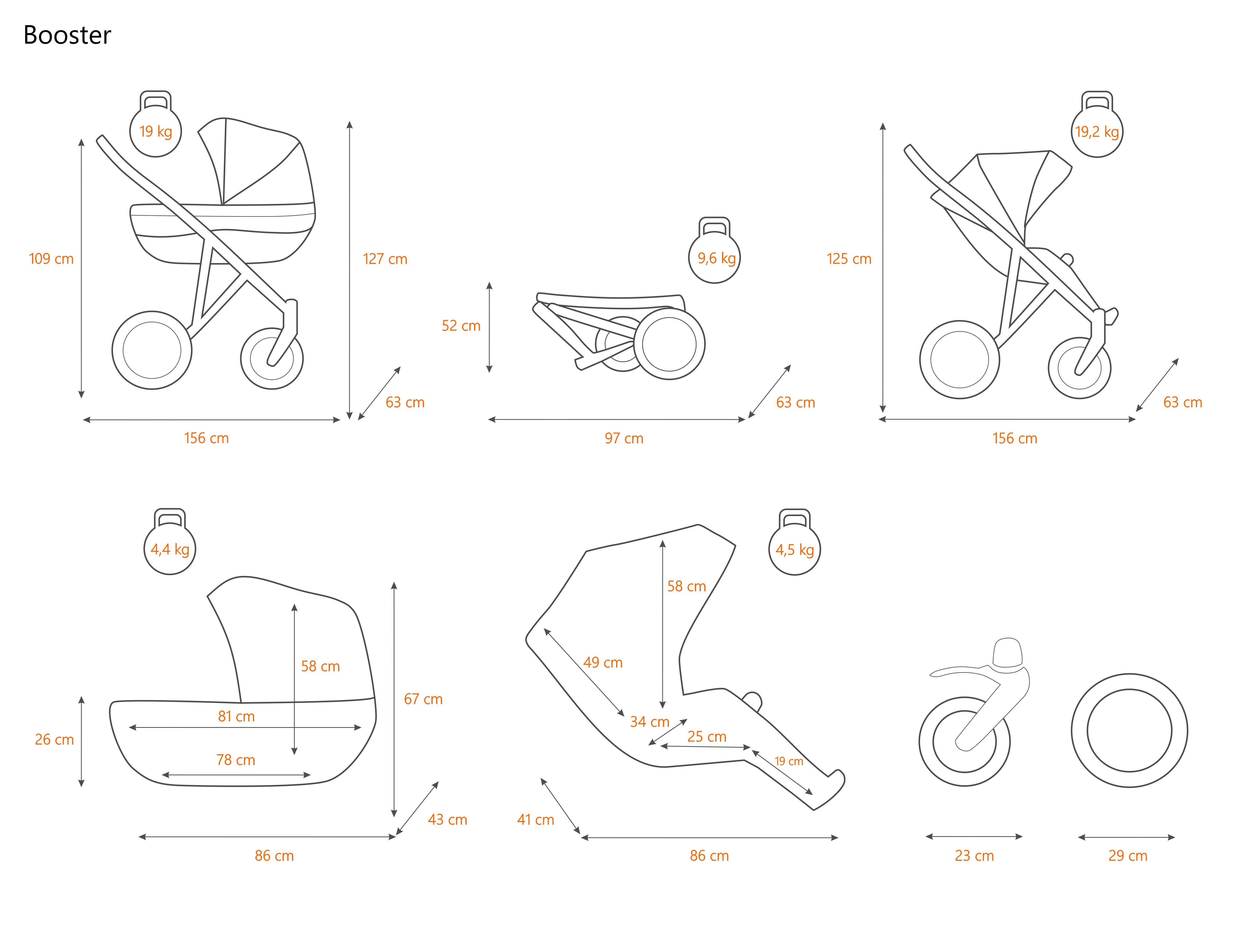 Dimensiuni carucior pentru gemeni Kunerti BOOSTER
